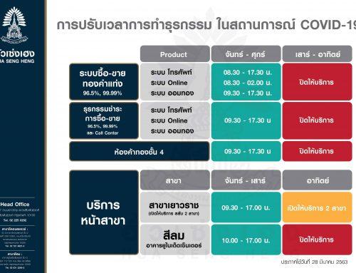 ประกาศการปรับเวลาการทำธุรกรรม ในสถานการณ์ COVID-19