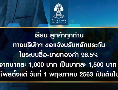 ฮั่วเซ่งเฮงประกาศปรับอัตราหลักประกันซื้อขายทองคำแท่ง 96.5